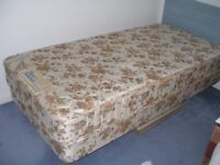 TWO SINGLE BEDS + REST ASSURED MATTRESSES - 3ft x 6ft 6ins