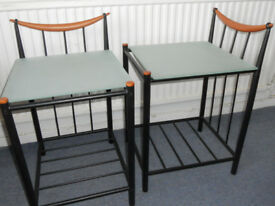 Metal and Glass Lamp Tables or Bedside Tables - £20 the pair