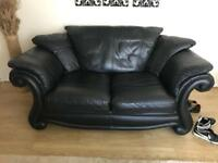 2 x immaculate black leather sofas