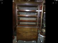 Antique mahogany linen press/ chest of drawers