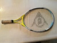 Child's tennis racket - Dunlop in yellow, black and white