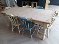 Solid wood dining table and 6 chairs. Paint in Annie Sloan chalk paint.