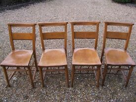 SET OF 4 OLD CHURCH CHAIRS. Delivery possible. Different chapel pew chairs available.