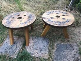 Pair of cable reel coffee tables £80