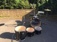 Black full size beginner drum kit