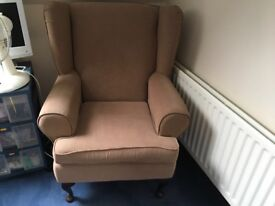 Beige up right arm chair. Good condition. No stains or marks. Collection only