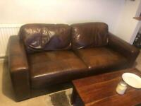FREE - 4 Seater Brown Leather Sofa