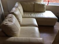 White cream leather corner sofa