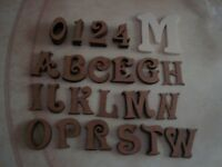 A selection of 83 mdf letters and numbers each 5cms tall