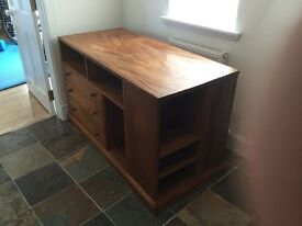 Cabinet - solid wood with shelving and three drawers