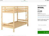 Ikea bunk bed Mydal in solid wood, 200cmx90cm