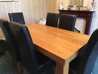 Large oak table with 6 brown leather chairs brilliant condition