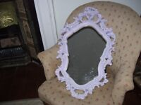 Ornate vintage Rococco / Baroque style wall mirror. Approx 73 cm high x 44 cm wide.