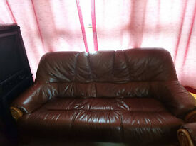leather & wood 3 seater sofa + 2 armchair