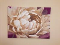 Canvas picture for sale - white flower with purple background