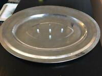 Metal meat platter done serving plate tray large 40 cm long previously used