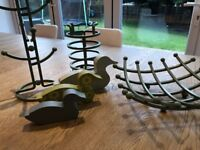 Green kitchen accessories inc Fruit bowl, utensils holder and mug tree