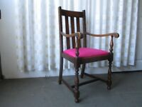 LARGE VINTAGE OAK CARVER STYLE CHAIR HALL CHAIR DINING CHAIR
