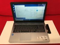 Silver ASUS X540S, Intel 2.16GHz CPU, 8GB RAM, 1TB Hard Drive, DVDRW, Wireless, USB 3.1, Windows 10.