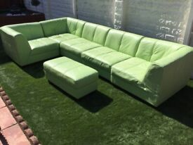 Light green leather six piece corner sofa unit