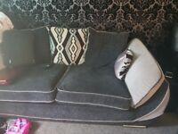 Fabric grey black sofa