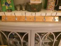 Coat rack, 6 hooks, wood and chrome