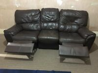 Reclining 3 Seater Leather sofa