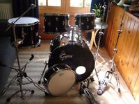 Gretsch Drum Kit Complete with Gilbraltar Hardware (fusion sizes) Jet Black & Cymbals