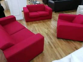 3, 2 and 1 seaters red fabric sofa set