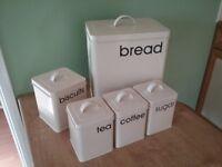 Cream Tin Kitchen Storage. Bread Bin. Biscuit Tin. Tea, Coffee & Sugar Tins. Vintage Style.