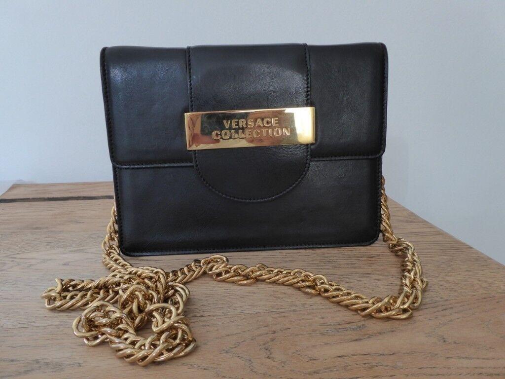 76266baa480d Genuine Vintage Retro Real Italian black leather Versace shoulder bag with  gold shoulder chain