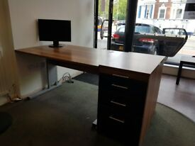 Modern walnut and black gloss office desk and drawer set