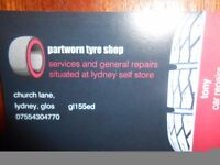 part worn tyres , general repairs and services in LYDNEY GLOS.