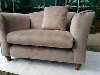 NEW Mocha Mink Beige Champagne Velvet Loveseat Cuddle Chair Snuggle Chair Armchair