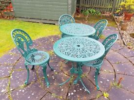 2 SETS OF VICTORIAN STYLE CAST ALUMINIUM TABLE AND CHAIRS IN GREEN