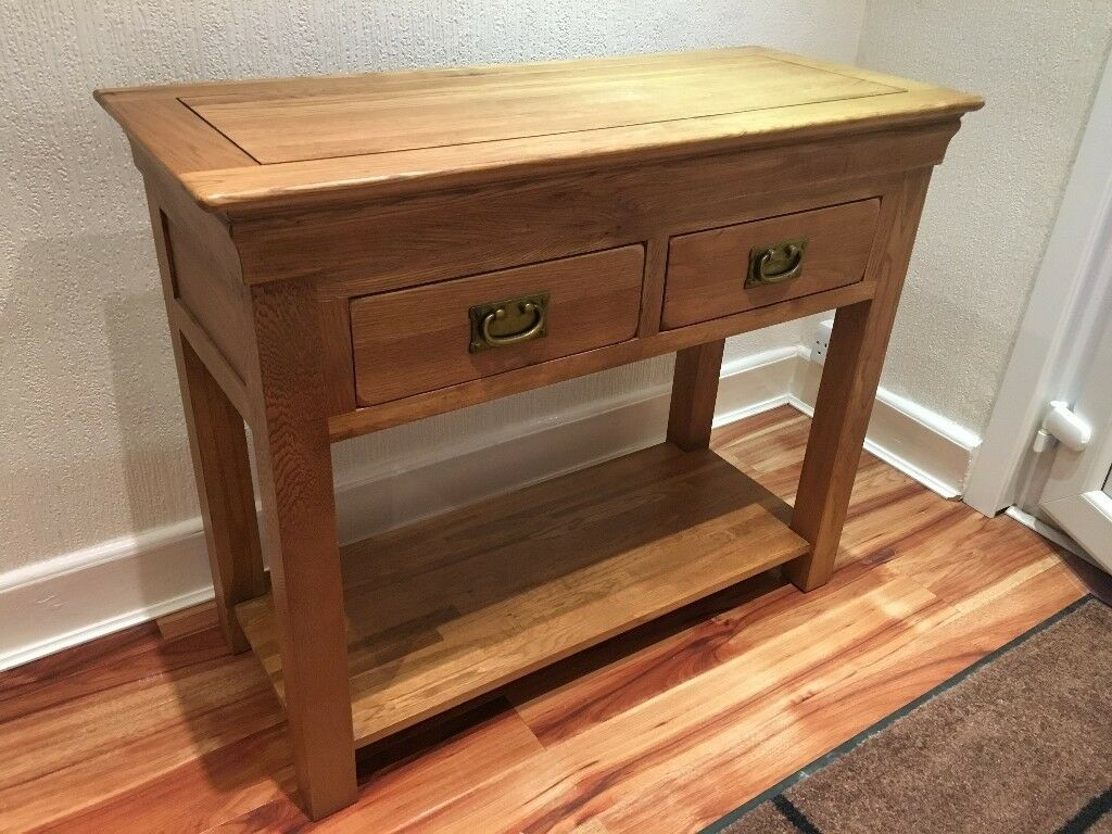 side table for hallway. HALLWAY CONSOLE SOLID WOOD OAK TABLE 2 DRAW SIDE SIDEBOARD EXCELLENT CONDITION Side Table For Hallway B
