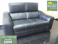 Designer Black leather 2 seater + 2 seater sofa (392) £899