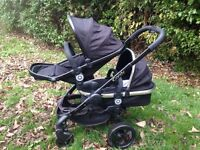 Icandy peach 2 double pushchair in black magic colour with blossom carrycot