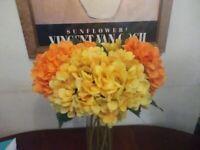Artificial Hydrangeas x 11 Orange