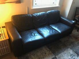 Genuine Black Leather Ikea Sofa - Great condition
