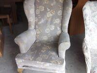 2 x high wingback armchairs