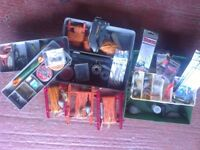 FISHING SEA 2 PLASTIC BOXES ASSORTED LINES WEIGHTS HOOKS FLYS SWIVELS SHORTENED ROD & REEL £ 20