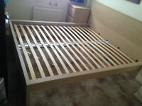 IKEA MALM king size bed frame (wthout slats) in white-stained oak