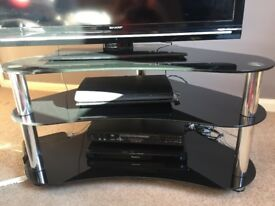 Black glass corner tv unit
