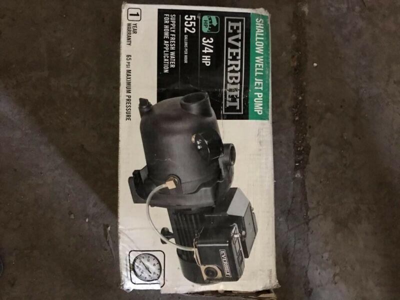 Used EVERBILT 3/4 HP Shallow Well Jet Pump 552