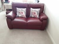 Two Seater Leather Sofa & Storage Foot Stool