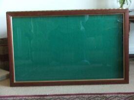 """Glass Flat Display Cabinet , L 35""""x W 22"""" x D 2"""" Green Felt"""