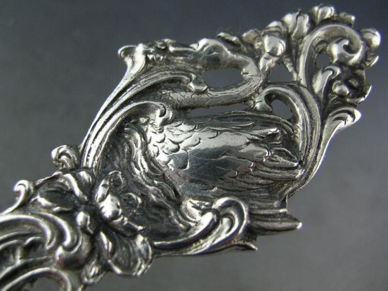 Elaborate Swedish 830 Silver Lg Berry Serving Spoon Swan Handle w/ Fruit Bowl