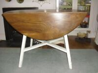 Ercol drop leaf dining table, Old Colonial 377 mid century elm & beech vintage table, painted legs