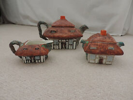John Maddock & Sons, England Royal Vitreous 'Thatched Cottage Ware' No.74052 Tea Service.
